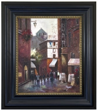 Artmasters Collection KM89152-68284G Crowded Street II Framed Oil Painting