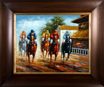 Artmasters Collection RM24902-WT54 Down The Stretch Framed Oil Painting