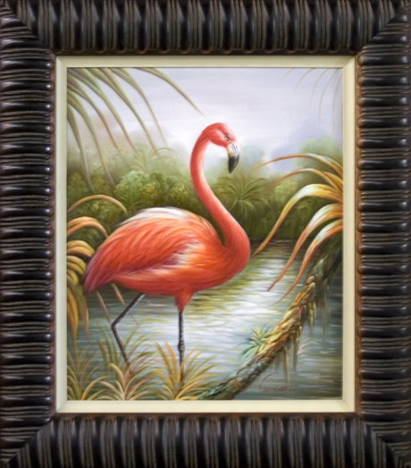 Artmasters Collection KM90064-3560-V303 Flamingo III Framed Oil Painting