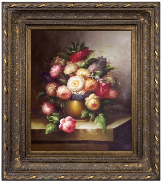 Artmasters Collection 99879-668DG Floral Still Life Framed Oil Painting