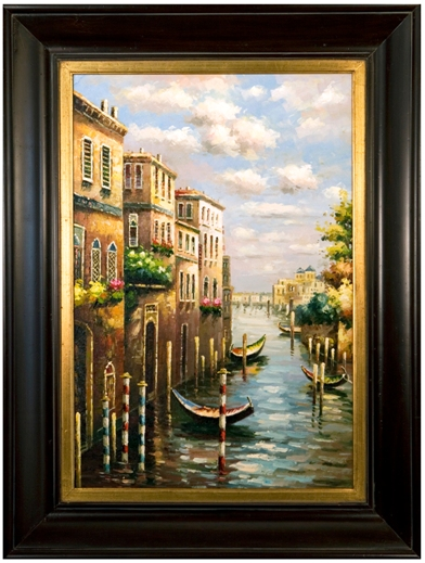 Artmasters Collection AC37224-69584G Gondola Ties Framed Oil Painting