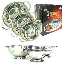 As Seen on TV 3 Piece Deluxe Stainless Steel Colander Set