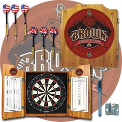 Brown University Dart Cabinet with Darts and Board