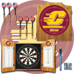 Central Michigan University Dart Cabinet with Darts and Board