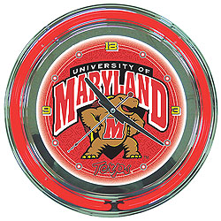 Maryland University Neon Clock - 14 Inch Diameter