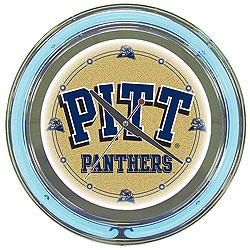 University of Pittsburgh Neon Clock - 14 Inch Diameter