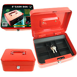 8 Inch Key Lock Cash Box with Coin Tray