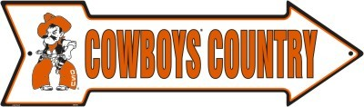 A - 016 OSU Oklahoma State University Cowboys Country - Arrow Sign - AS25025