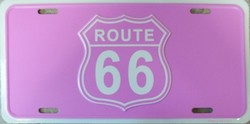 LP - 025 Route 66 PINK License Plate - X202