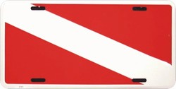 LP - 082 Scuba Divers Diving Flag License Plate - 2144