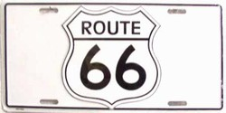 LP - 097 Route 66 Shield White License Plate - 5262