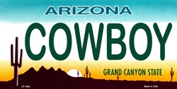 LP - 1043 AZ Arizona Cowboy License Plate - 5782