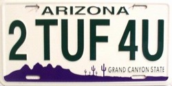 LP - 1099 AZ Arizona 2 Tuf 4 U License Plate - 3561