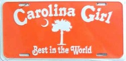 LP - 180 Carolina Girl Orange License Plate - X033