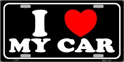 LP - 234 I Love MY Car Black License Plate - 333