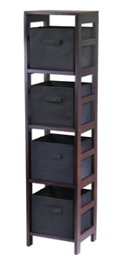 Winsome 92241 Capri 4-Section N Storage Shelf with 4 Foldable Black Fabric Baskets - Walnut