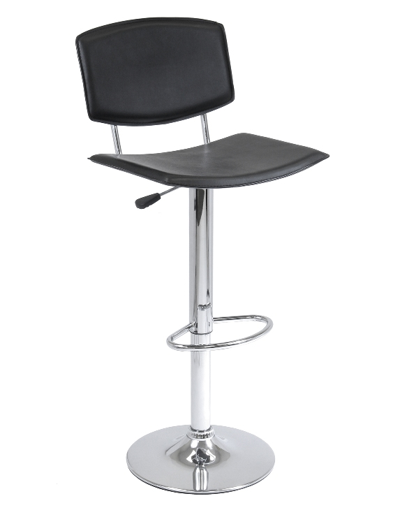 Winsome 93140 Faux Leather Curved Seat Single Air Lift Stool - Black