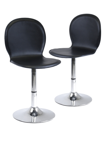 Winsome 93220 Faux Leather Shell Swivel Stool - Black - Set of 2