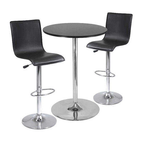 Winsome 93345 3pc Pub Table Set - 28 Inch Round Table with 2 L-Shape Airlift Stools - Black