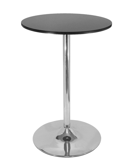 Winsome 93628 28 Inch Round Pub Table - Black with Chrome Leg