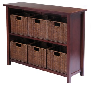 Winsome 94510 Milan 7pc Storage Shelf with Baskets - One Cabinet and 6 Small Baskets - Antique Walnut