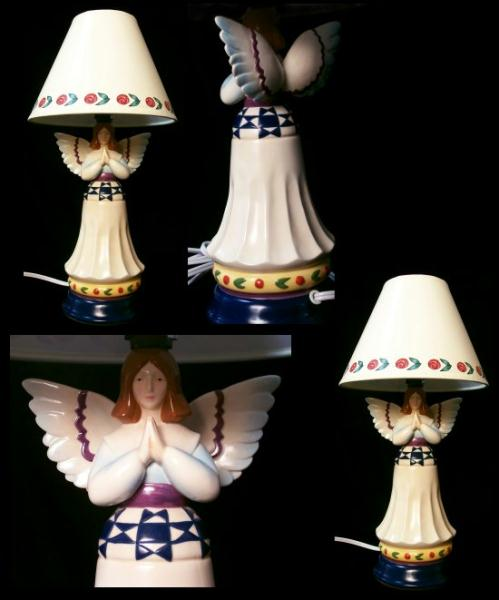 Jim Shore Porcelain Angel Lamps - Set of 2