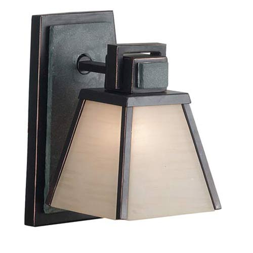 Kenroy Home 91601ORB Clean Slate 1 Light Sconce- Oil Rubbed Bronze Finish with Natural Slate