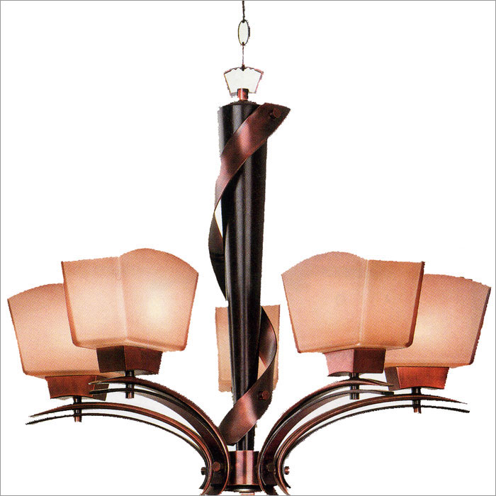 Kenroy Home 02736 Oslo 5 Light Chandelier Burnished Copper with Black Cherry Wood Finish