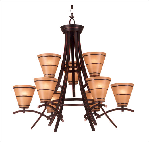 Kenroy Home 90089ORB Wright 9 Light Chandelier- Oil Rubbed Bronze Finish