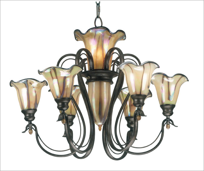 Kenroy Home 90896TS Inverness 6 plus 3 Light Chandelier- Tuscan Silver Finish