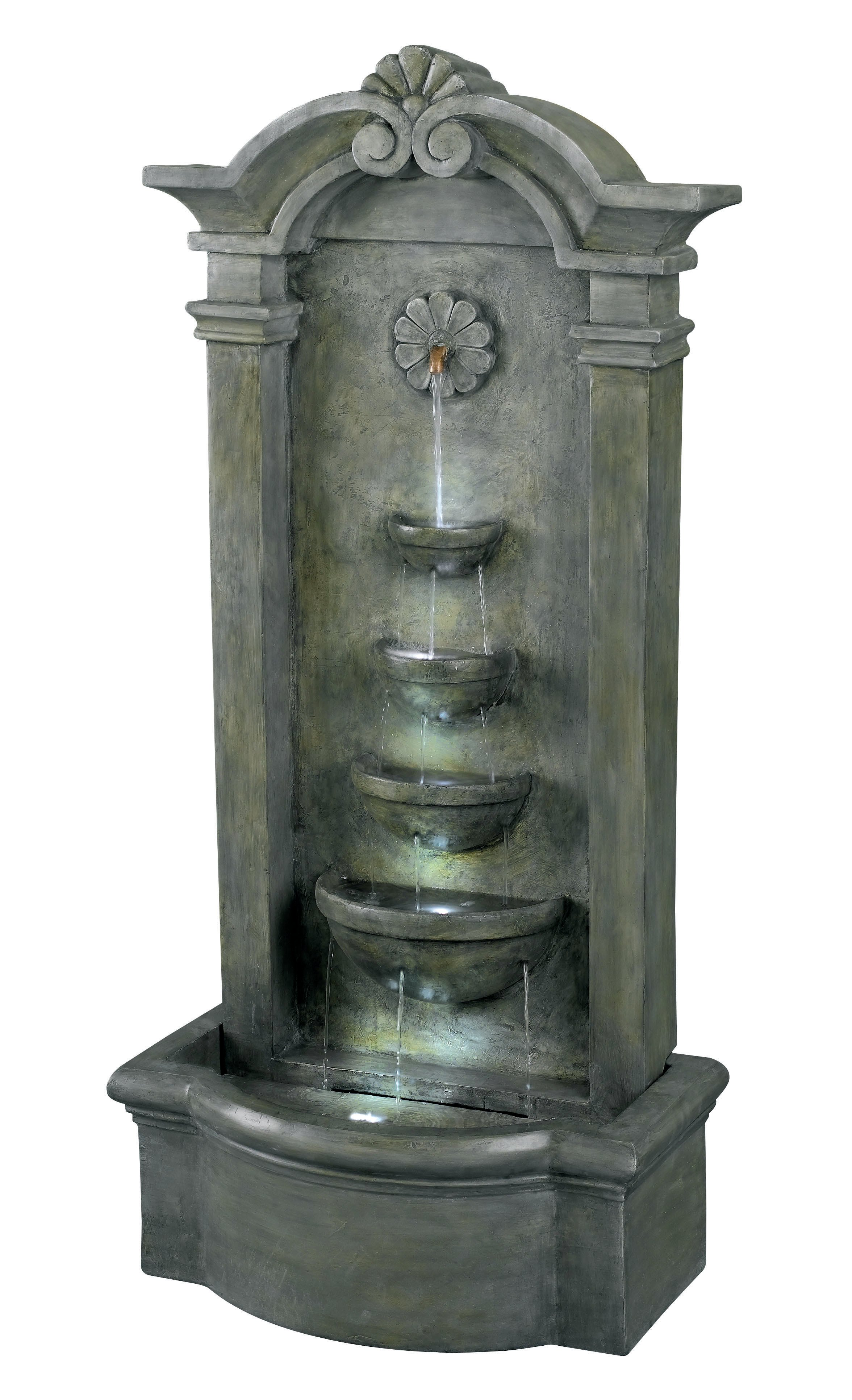 Kenroy Home 53245MS Sienna Floor Fountain- Mossy Stone Finish