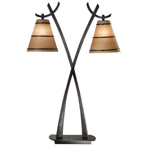 Kenroy Home 03334 Wright 2 Light Table Lamp- Oil Rubbed Bronze Finish