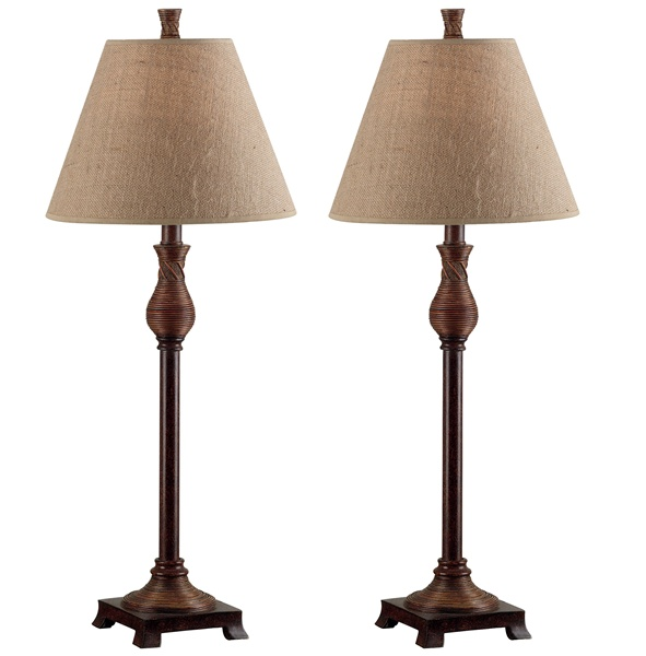 Kenroy Home 20392NR Santiago 2 Pack Buffet Lamp- Natural Reed Finish