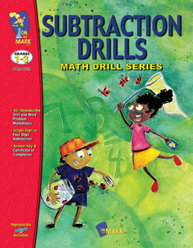 On The Mark Press OTM1129 Subtraction Drills Gr. 1-3