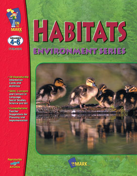 Get students hooked on habitats. This easy-to-use  teacher-friendly resource provides 58 engaging reproducible student information cards and activities. Integrated across the curriculum  these activities focus on science  language arts  social studies  and art. Get started quickly with the skill lists  comprehensive teacher suggestions for planning and implementation  resource lists  teacher and student evaluation sheets  and a complete answer key. Topics include: What is Ecology-   Earth`s Biomes  Habitat is Home  Food Chains  Plants are Producers  Each to its Niche and more. 42 activities  104 pages.