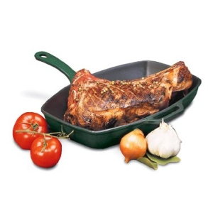 World Cuisine A1733032 Red Rectangular Cast Iron Grill Pan with Handle