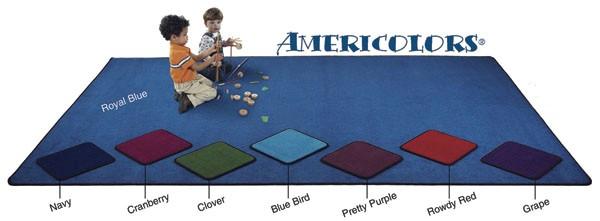 Flagship Carpets AMER1208OV-RB 12 x 8ft Oval Royal Blue Americolors Educational Rug