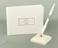 50th Anniv Small Ivory Guest Book