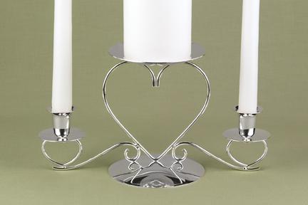 Hortense B. Hewitt 44605 Triple Heart Candle Holder - Silver