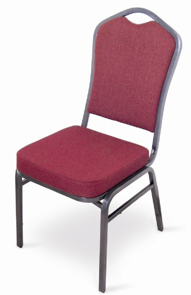 McCourt 10355 Superb Seating Stack Chair - Burgundy on Silvervein Frame