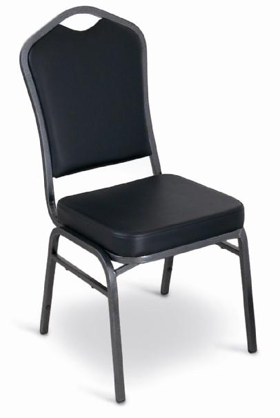 McCourt 10388 Superb Seating Stack Chair - Black Vinyl on Silvervein Frame