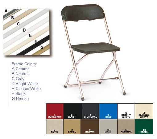 McCourt 65070 Series 5 Stackable Folding Chair - Bone on Neutral Frame