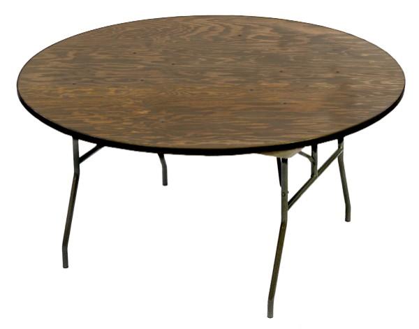 McCourt 70015 72 Inch Round Plywood Folding Table - Vinyl Edge with Black Frame