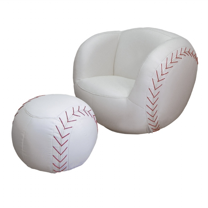 Ore International R2014 Baseball Chair & Ottoman set