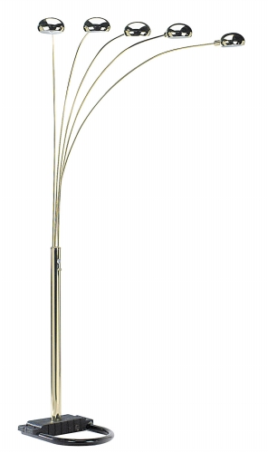 Ore International 6962G 5 Arms Arch Floor Lamp - Polish Brass