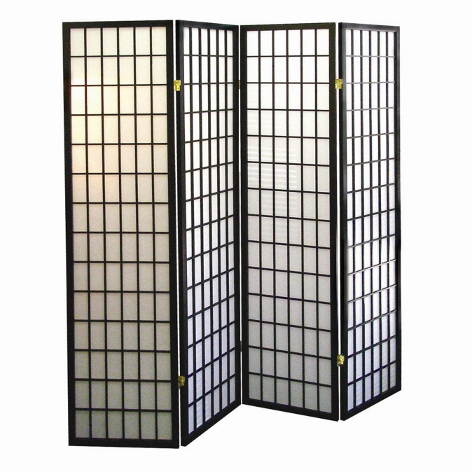 Ore International R530-4 4-Panel Room Divider - Black
