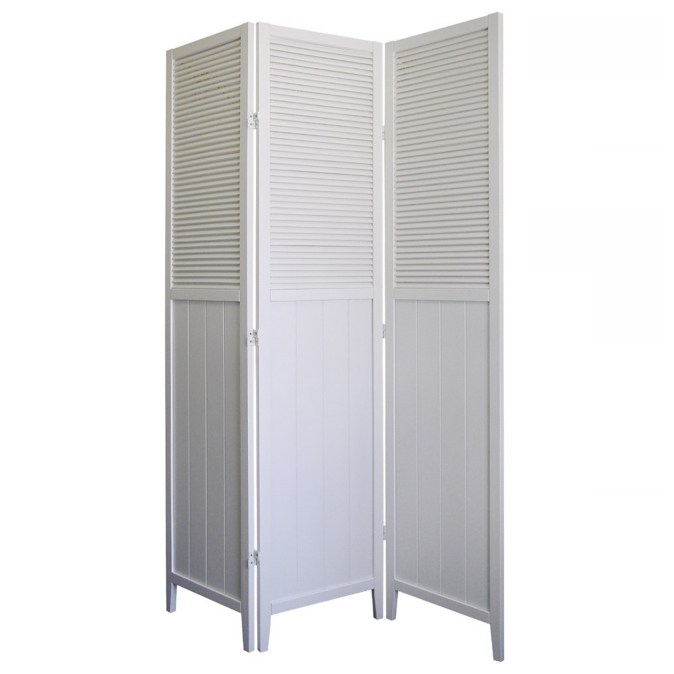 Ore International R5420 Shutter Door 3-Panel Room Divider - White