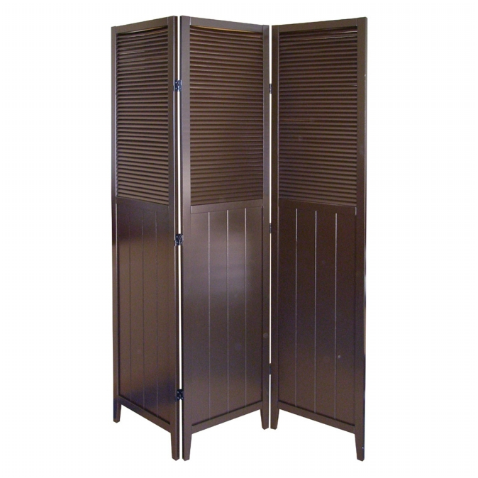 Ore International R5421 Shutter Door 3-Panel Room Divider - Espresso