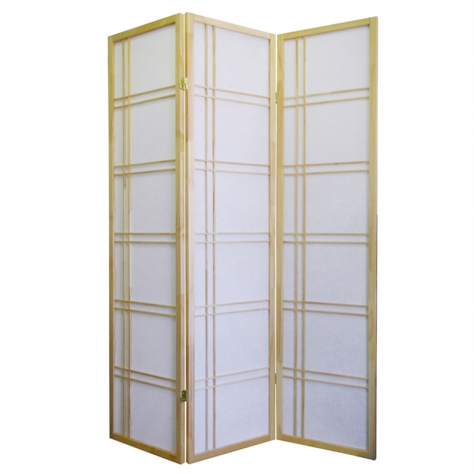 Ore International R542NA Girard 3-Panel Room Divider - Natural