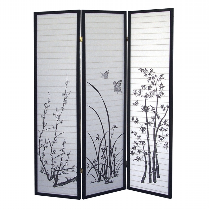 Ore International R590 3-Panel Room Divider - Scenery
